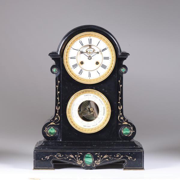 "A black marble table clock, France, 19th century - Cassa in marmo nero con [...], mis en vente lors de la vente ""Clocks (Genova)"" à Cambi Casa d'Aste   Auction.fr"