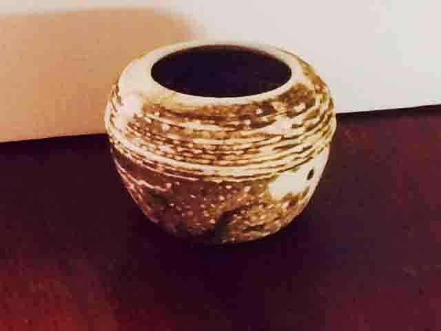 Yvonne Kitchener Lava Vase, small raku fired stoneware
