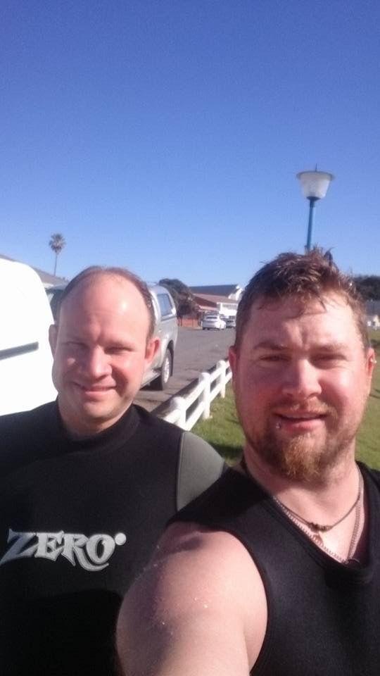 Stuart du Piesanie and Quinton Schemel at Gonubie Slipway, South Africa.