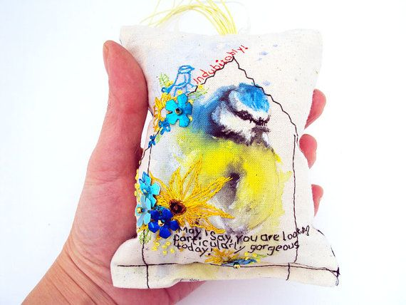Blue Tit bird pillow. Bird home decor. OOAK. Genuine handmade. on Etsy, £33.91