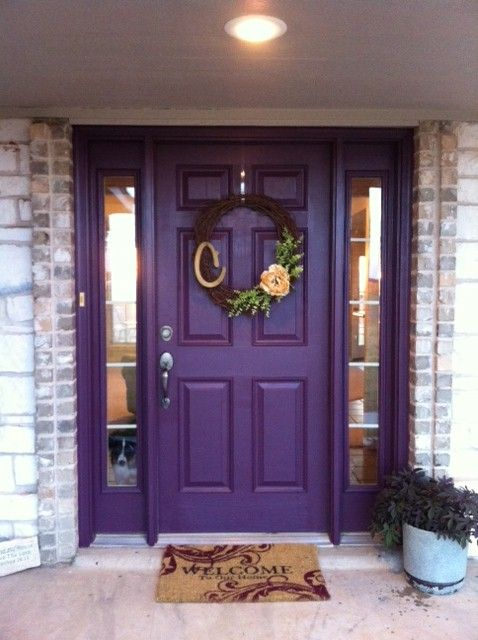 Purple Front Door & Awesome Wreath- this is the one for so many reasons