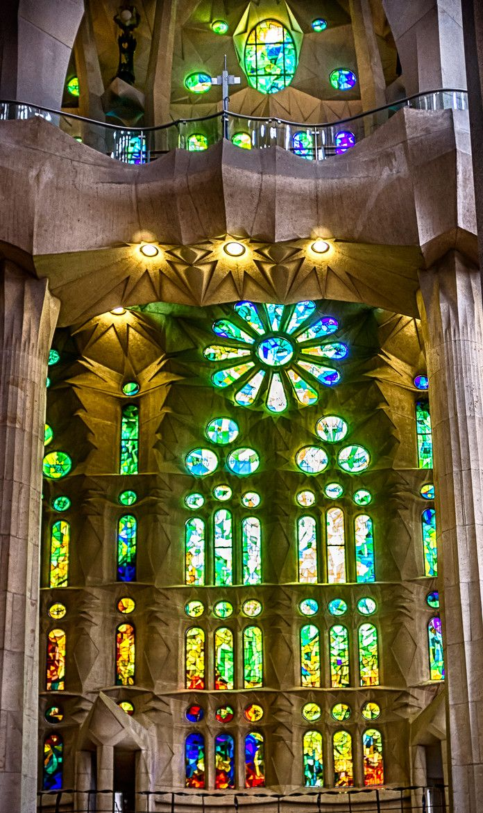 Stained glass of Gaudi's La Sagrada Familia, Barcelona, Spain by Mariluz Rodriguez Alvarez