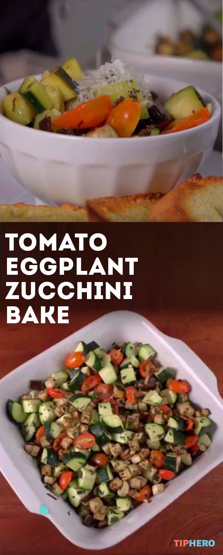 Tomato Eggplant Zucchini Bake Recipe | An easy to prep--and healthy--casserole that's great for warmer days.