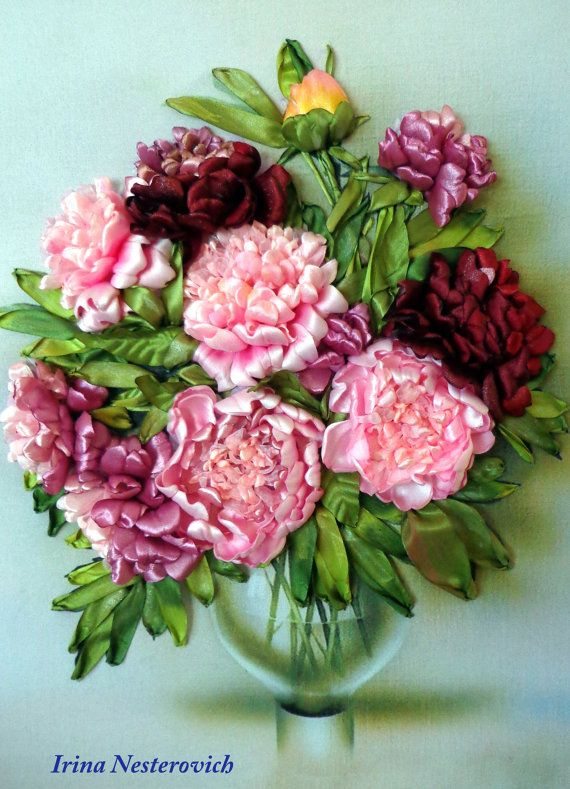 Embroidered picture Peonies Embroidery от RibbonEmbroiderySilk