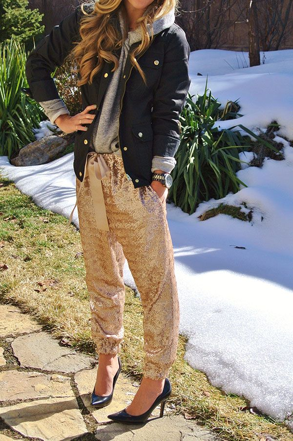 aBree Fashion: gold sequin pants