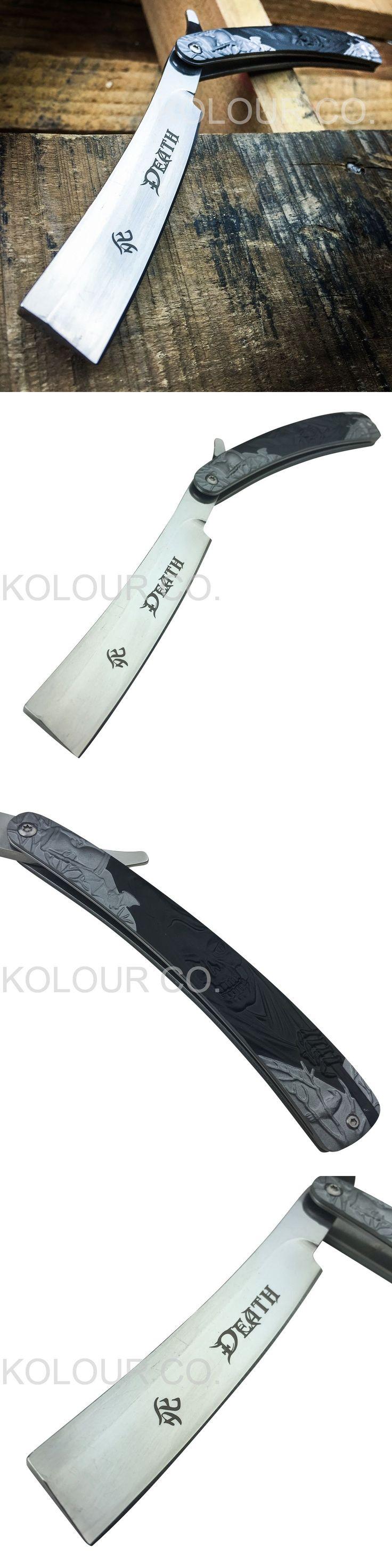 Straight Razors: Grim Reaper Straight Blade Barber Razor Folding Pocket Knife Shaving Cut Throat BUY IT NOW ONLY: $49.95