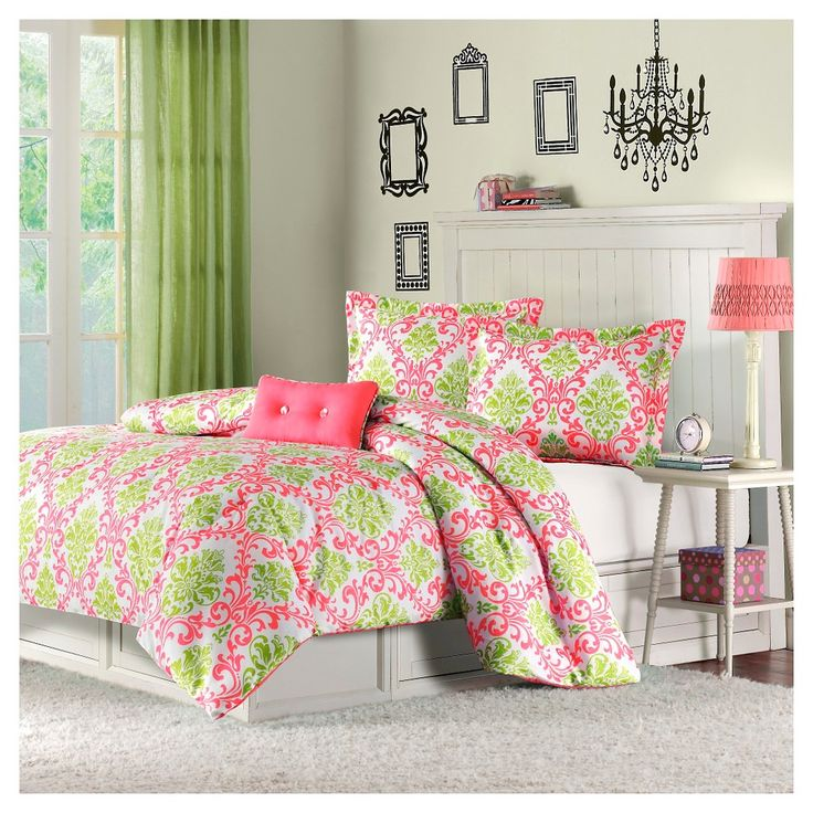 Bella 4 Piece Comforter Set - Coral (Pink) (Full/Queen)