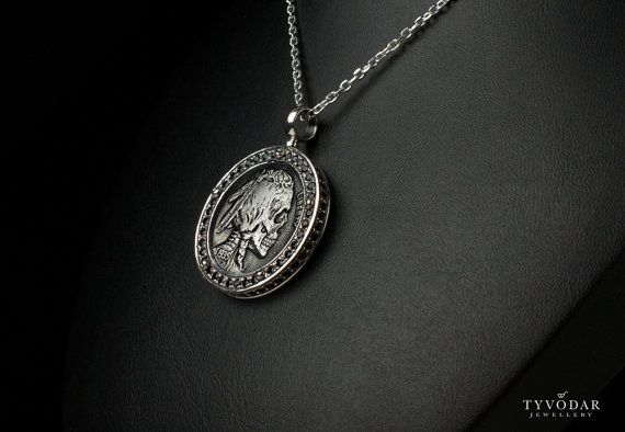 Skull coin   Necklace made of sterling silver antique by TYVODAR