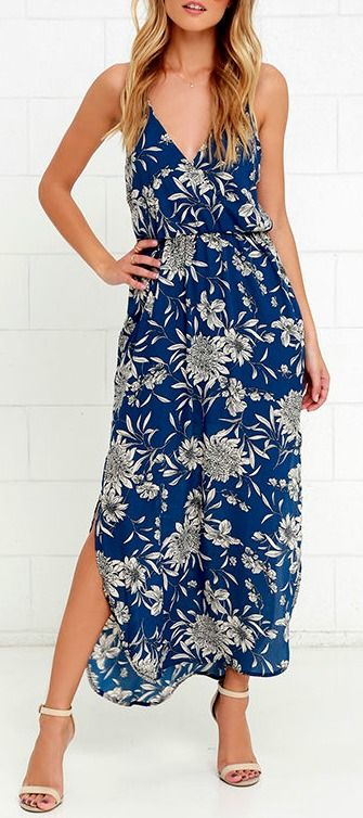 Like a river flowing to the sea, you will naturally gravitate to the Along the Waterway Blue Floral Print Midi Dress! Blue Georgette with a black and cream floral print adorns a strappy surplice bodice with elasticized waist. Skirt flows to a midi length with twin side slits. #lovelulus