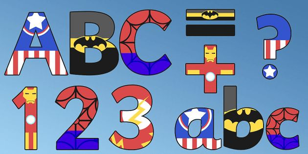 Superhero Alphabet Display Letters
