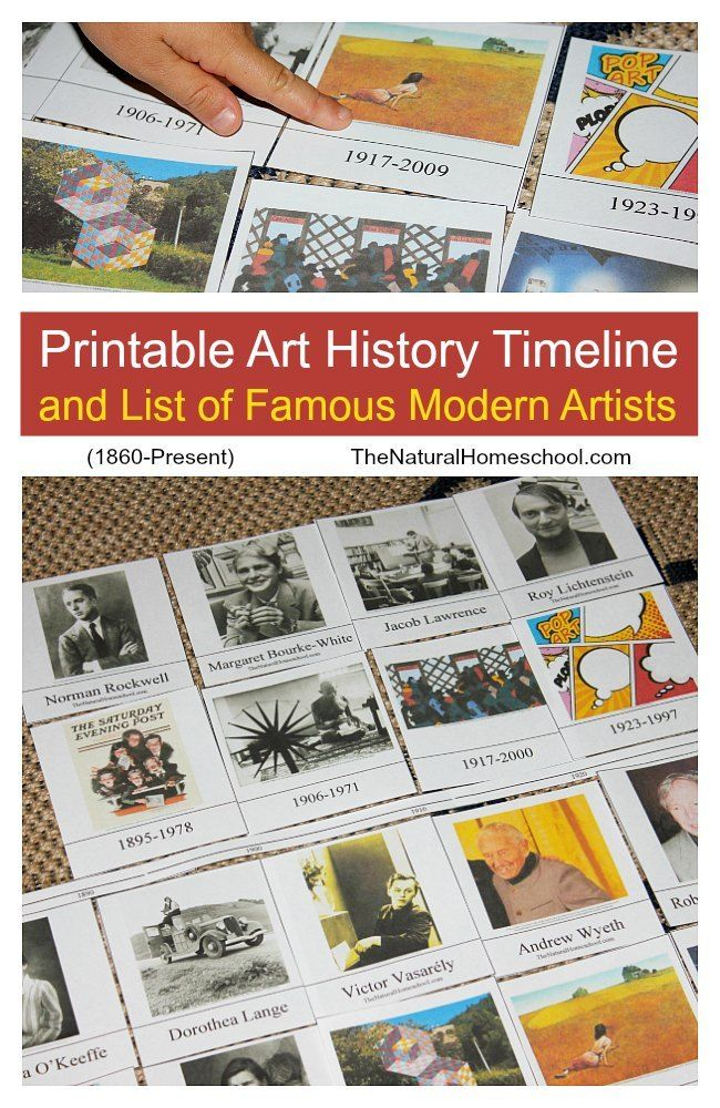 Don't miss this printable Art History Timeline and list of Famous Modern Artists from 1860 - present. Includes some great activities to learn them in order too! :: www.thriftyhomeschoolers.com
