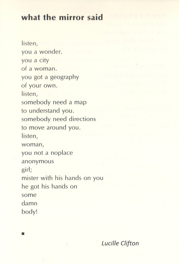 """from """"Two-headed Woman"""" by Lucille Clifton"""