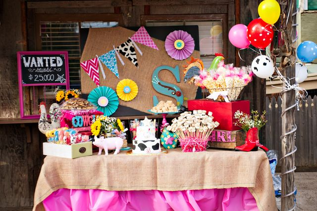 Awesome dessert table at a Farm girl birthday party!  See more party ideas at CatchMyParty.com!