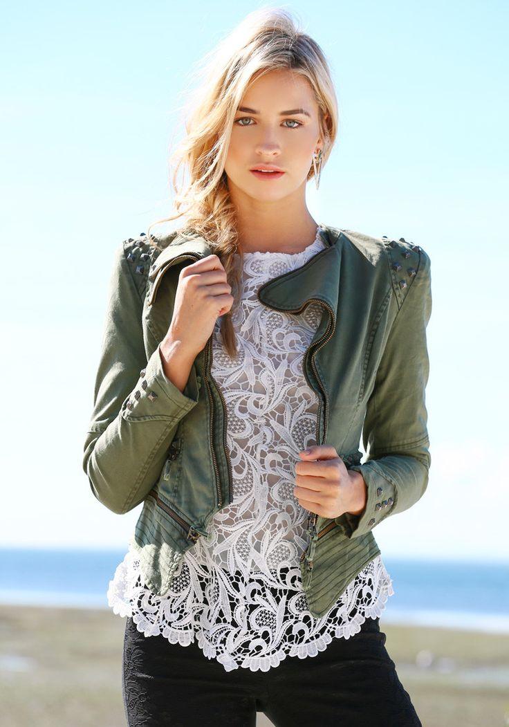 Studded Shoulder Denim Blazer - Green -
