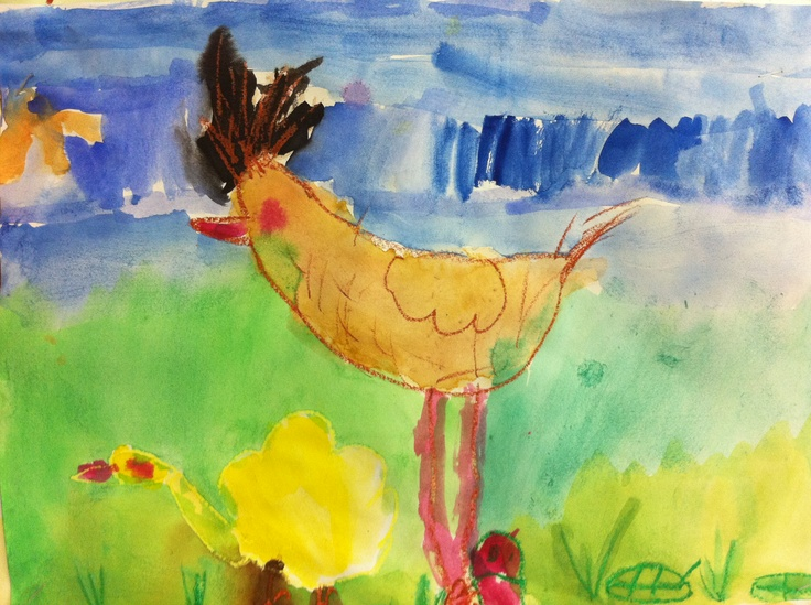 A live study of a hen and chicks, coupled with water colour. I love the creative background that was added by the student. Every 'chook' would be happy to live there.