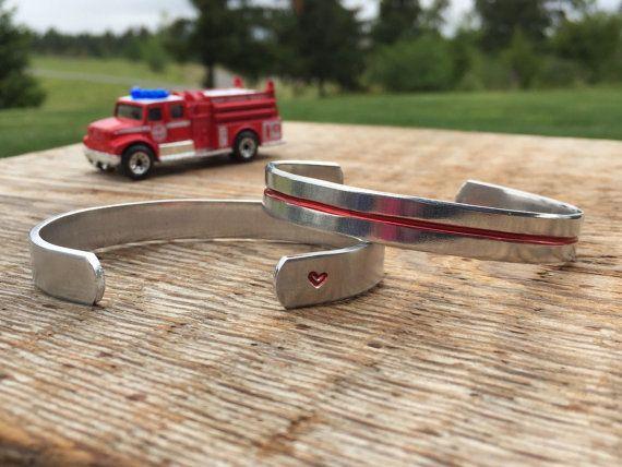 Thin red line bracelet  firefighter bracelet  by RudePoodleDesigns