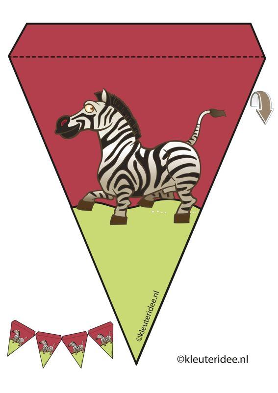 Zebra slinger, thema dierentuin, juf Petra van kleuteridee, zebra guirlande, Preschool zoo theme, free printable.