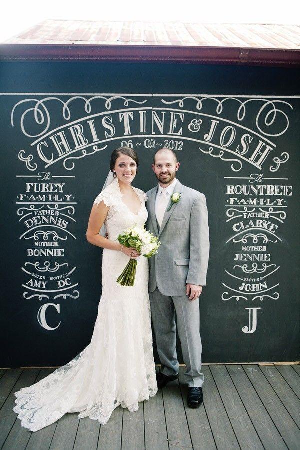 Свадебная фотозона из меловой доски