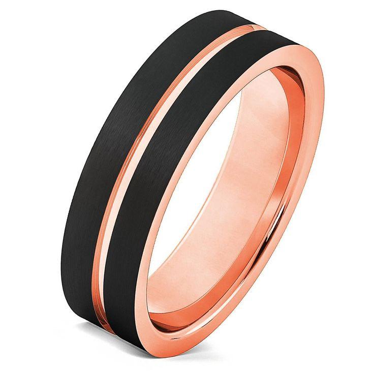 Tungsten Ring Rose Gold Wedding Band Ring Tungsten Carbide 6mm 18K Tungsten Ring Man Wedding Band Male Women Anniversary Matching #weddingring #menweddingrings #weddingbands