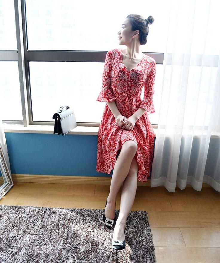 Пре - @добавить удобрения для увеличения размера женщин жир мм лето V-образным вырезом цветочные тонкий платье пляж платье труба рукава платье-Таобао