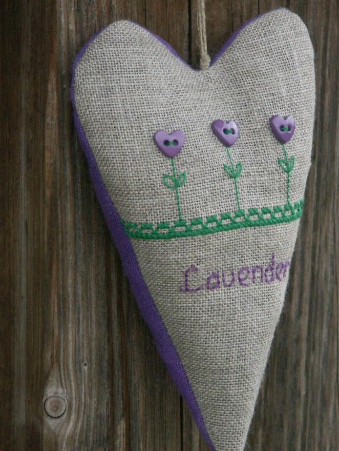 Lavender sachet - embroidered heart ornament