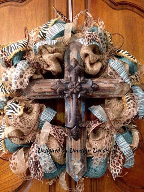 Burlap Wreath Rustic Cross Wreath Turquoise Burlap by DawslynDecor