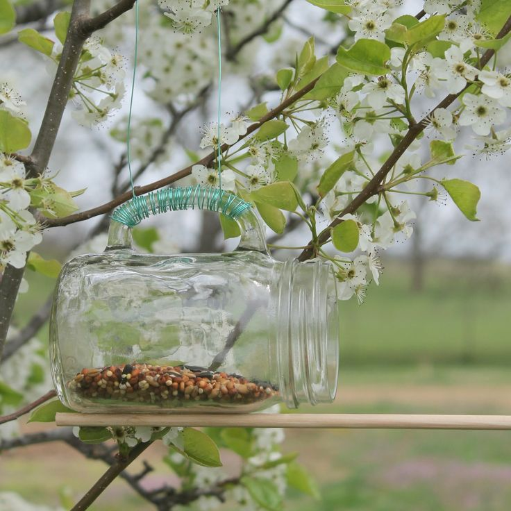 A great mason jar bird feeder that you can make in just minutes. A fun project to bring the birds into your yard this summer.