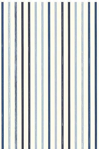 Blauw-wit gestreept behang.  Esprit - home