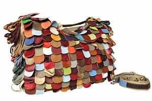 Leren tas, kleurtjes, 2 verschillende kanten.