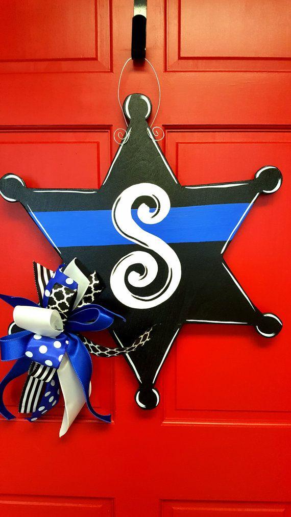 Sheriff Badge Door Hanger - Black, Sheriff, Law Enforcement, Office, Wooden Door Decor