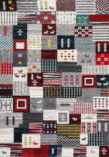 """Tapis patchwork disponible en plusieurs coloris et dimensions   Tapis Patchwork Bahrain Riffa """"Argent"""" - BRICOFLOR"""