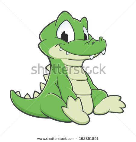 Vector illustration of a cutely smiling cartoon crocodile