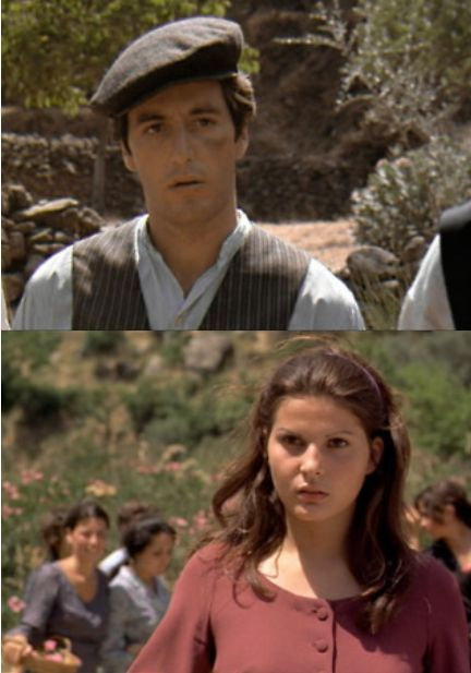 """The Thunderbolt"" — Al Pacino as Michael Corleone and Simonetta Stefanelli as Apollonia Vitelli in The Godfather (1972)"