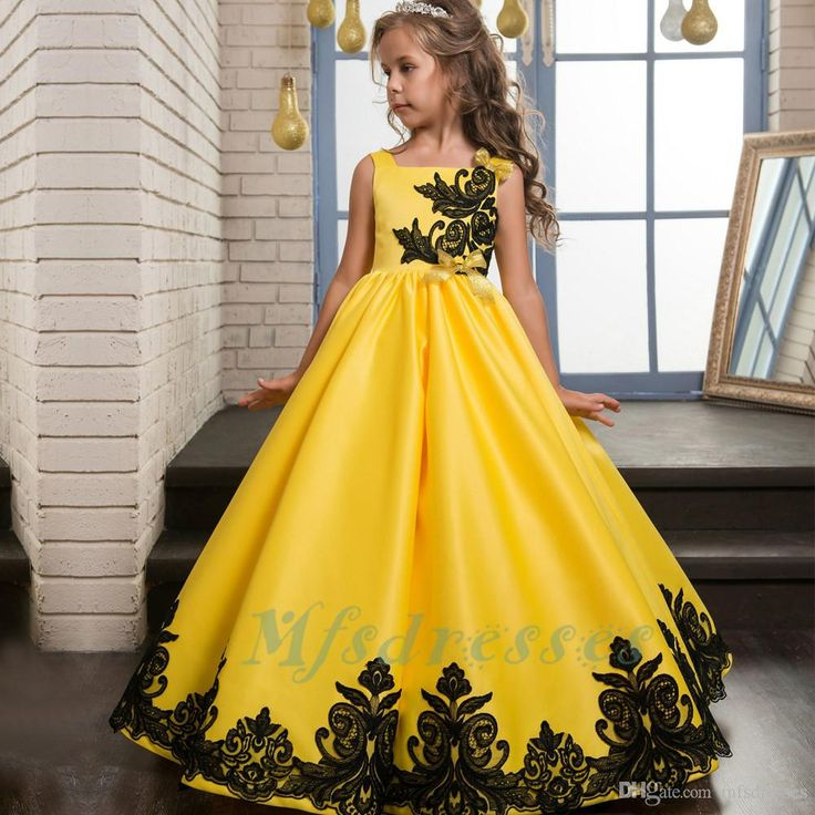 2017 New Princess Satin Lace Applique Yellow Flower Girl Dresses Girls Party Prom Dress Children Kids Long Little Girls Pageant Dresses Flower Girl Dresses Girls Christmas Dress Girls Communion Dresses Online with $89.15/Piece on Mfsdresses's Store | DHgate.com
