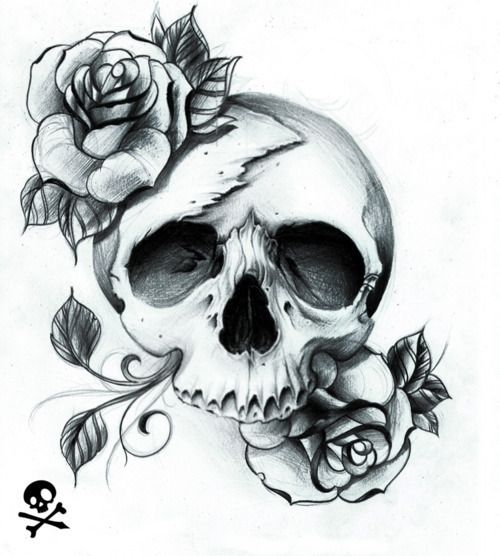 Style love skull roses drawing art illustration tattoo black and white