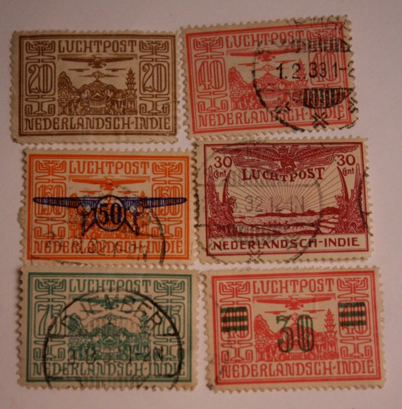 Vintage Postage Stamps Dutch East Indies Airmail by FoundAround, $3.00