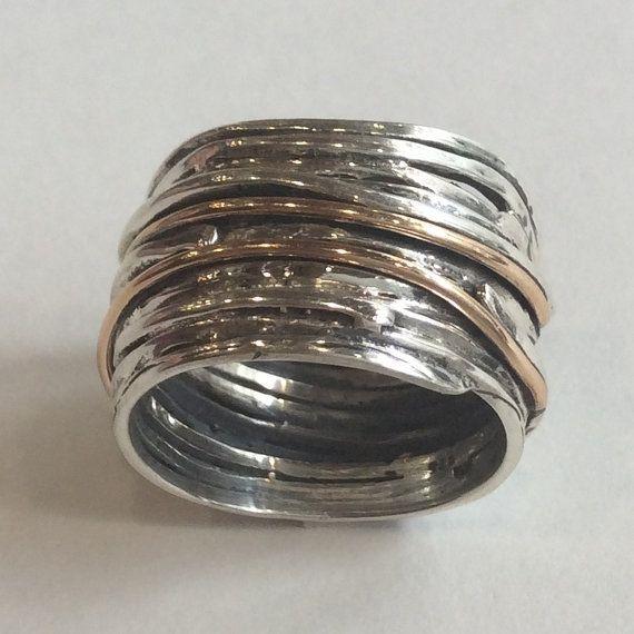 Verpakt Wire Ring brede unisex ring bruiloft band door artisanlook