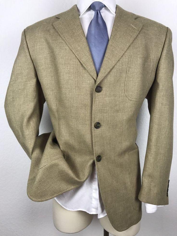 RALPH LAUREN Silk, Wool & Linen Blend Tan Gold Woven Sport Coat Blazer 46R #RalphLauren #ThreeButton