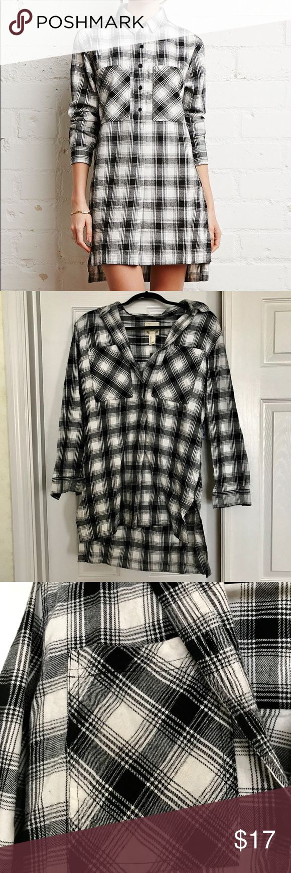Forever 21 • Black and White Flannel Dress BRAND NEW. In perfect condition. Two giant breast pockets (ladies we all know this is a blessing!). Top half bottom up bottom half connected. Can button up all the way (like the cover shot) or keep some buttons unhooked. Will look great with leggings or jeans or on its own. Two buttons on wrist (shown in pics). Forever 21 Dresses Long Sleeve