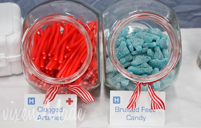 ideas for nursing party food. red vines for clogged arteries and marshmallows labeled cotton balls.