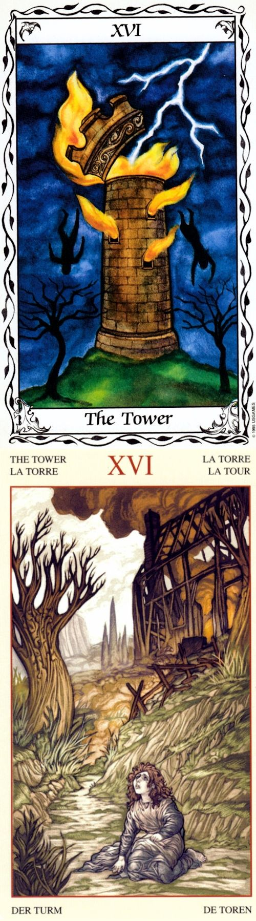 THE TOWER: sudden disaster and delaying inevitable disaster (reverse). Hudes Tarot deck and Mona Lisa Tarot deck: tarotilluminati book, one card tarot reading vs tarot free on line. The best fortune telling tattoo and tarot reading tips. #magician #intuition #gothic #spells