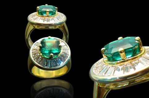 #Anillo #Oro18K #Esmeralda #Diamantes