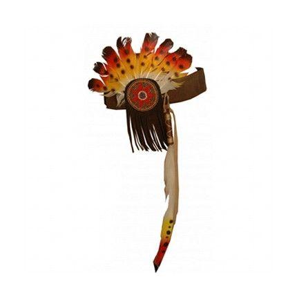 Bandeau indien en suédine, plumes et motifs perlés sur le côté.