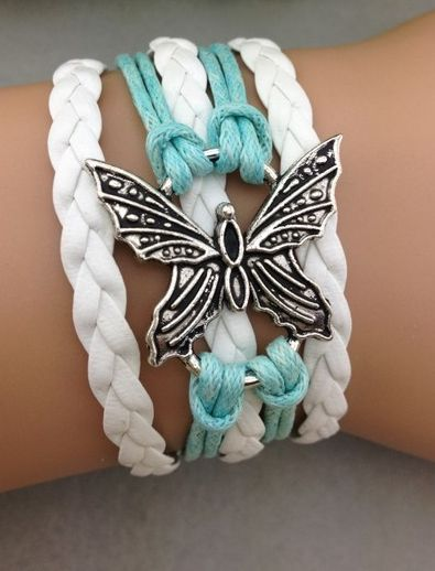 Butterfly ModWrap in light teal and white - http://www.gomodestly.com/product/butterfly-wrap-bracelet-light-bluewhite/