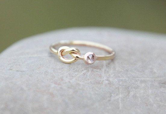 Rosa oro anillo de nudo amor infinito Sterling por galwaydesigns