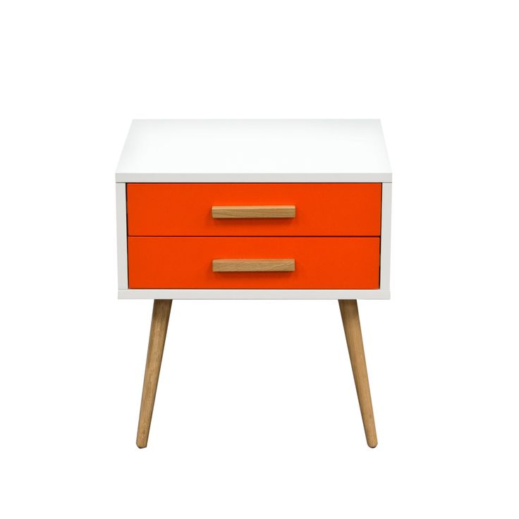 Tangent 2-Drawer Accent Table w/ White Top, Grey or Orange
