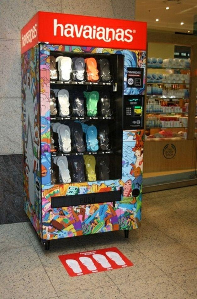 HAVAIANAS vending machine. This is a perfect application for retail apparel vending! www.popuprepublic.com