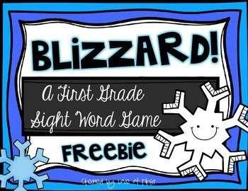 Blizzard First Grade Sight Word Game FREEBIE