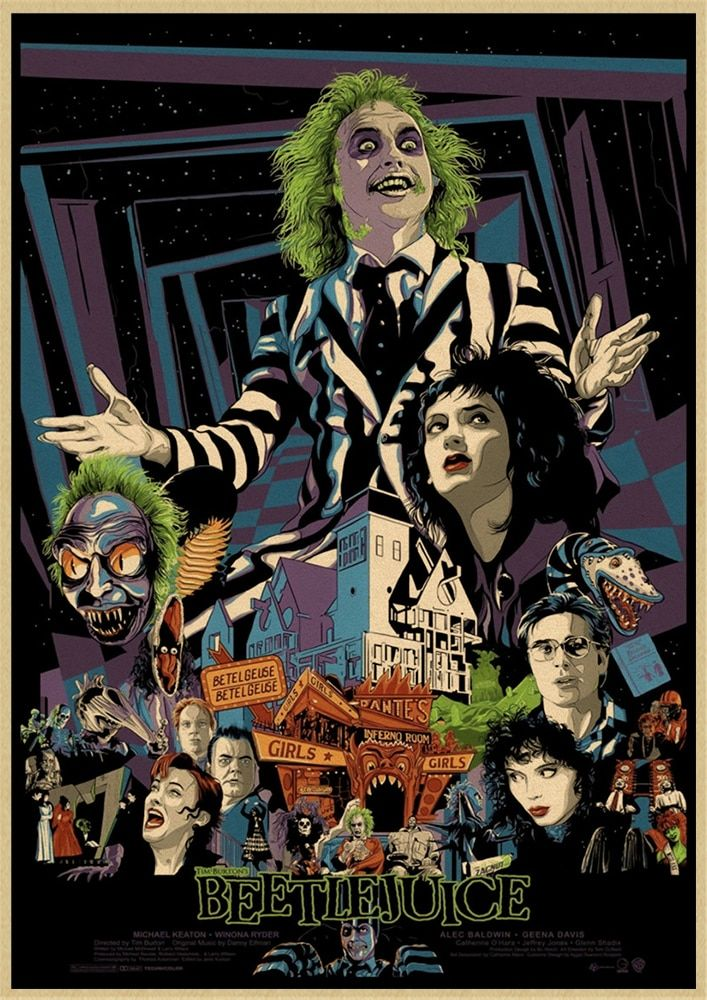 Beetlejuice Classic Horror Movie Classic Decorative Retro Poster Wall Art Painting Room Decor Www Minogdi Beetlejuice Movie Movie Poster Art Horror Movie Art