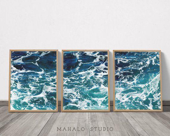 Surf Art Set Of 3 Prints Coastal Printable Wall Art Teal Wall